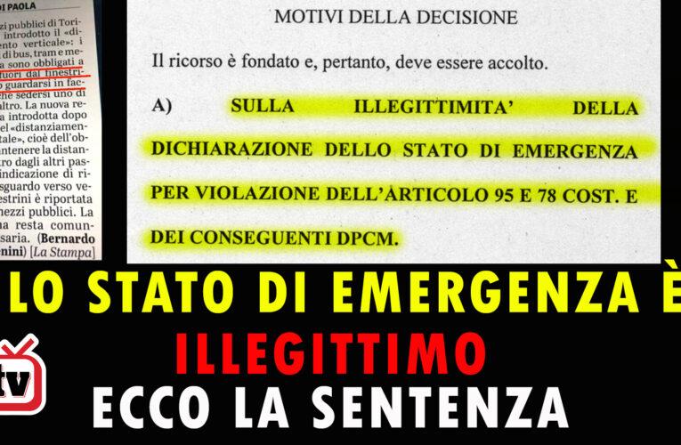 10-08-2020 LO STATO DI EMERGENZA È ILLEGITTIMO: ECCO LA SENTENZA