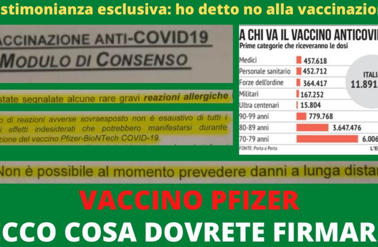 10-01-2020 VACCINO PFIZER: ECCO COSA DOVRETE FIRMARE